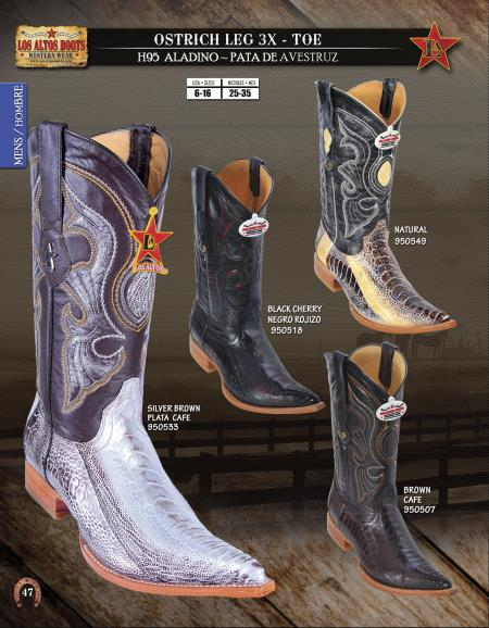 fa6d735f7f8 Product# 16SW Authentic Los altos 3X-Toe Genuine Ostrich Leg Western Cowboy  Boot Diff.Colors/Sizes