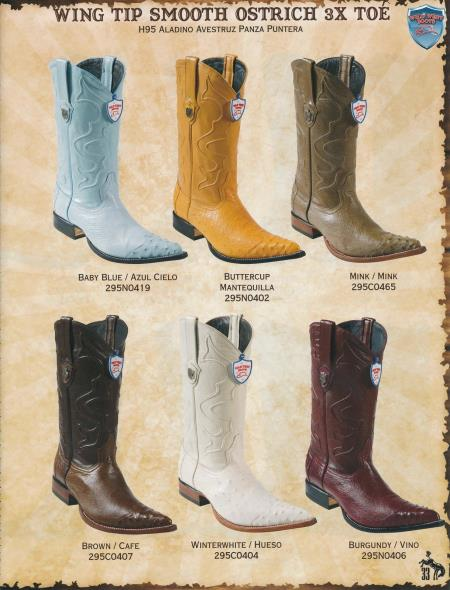 Product# U8AD 3X-Toe Wing Tip Genuine Ostrich Cowboy Boots Diff.Color/Size