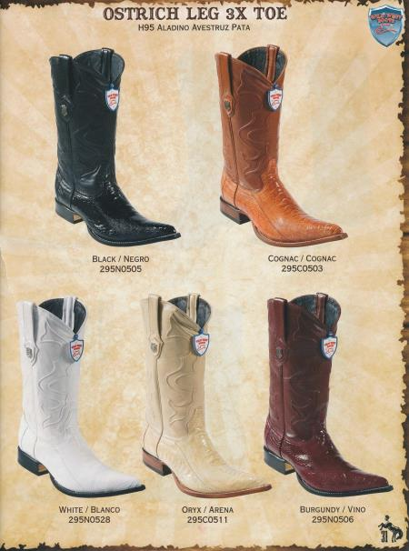 Product#R45X XXX-Toe Genuine Ostrich Leg Cowboy Western Boots Diff.Color/Size
