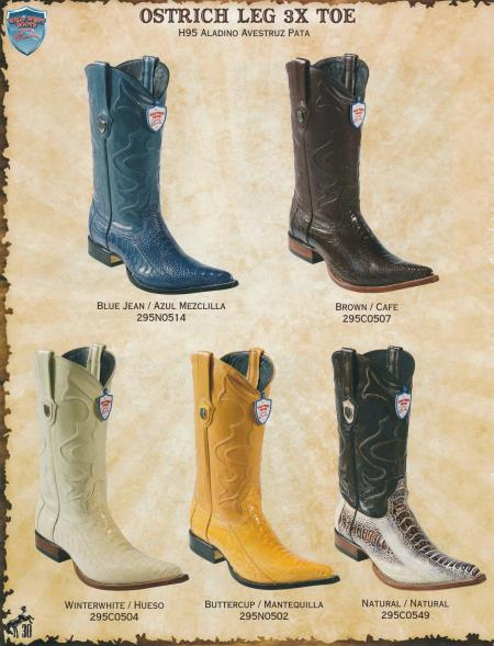 Product# R55F 3X-Toe Genuine Ostrich Leg Cowboy Western Boots Diff.Color/Size