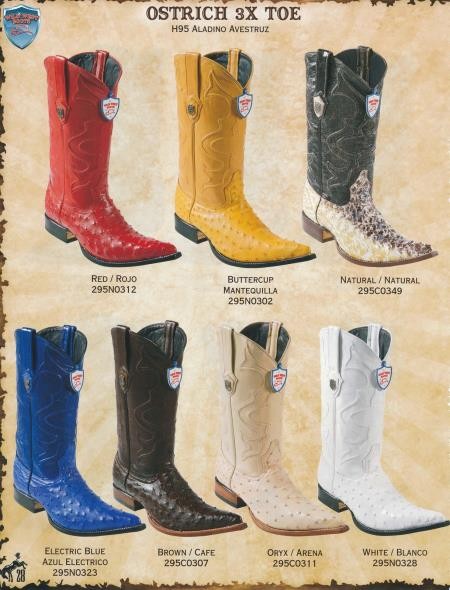 Product#A4V3 XXX-Toe Genuine Ostrich Cowboy Western Boots Diff. Colors/Sizes