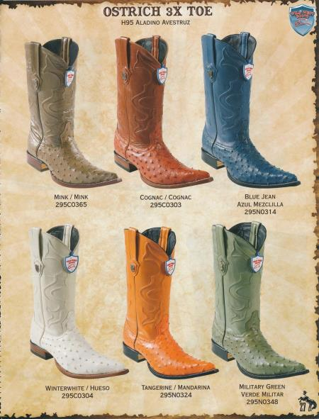 Product# RXX3 3X-Toe Genuine Ostrich Cowboy Western Boots Diff. Colors/Sizes