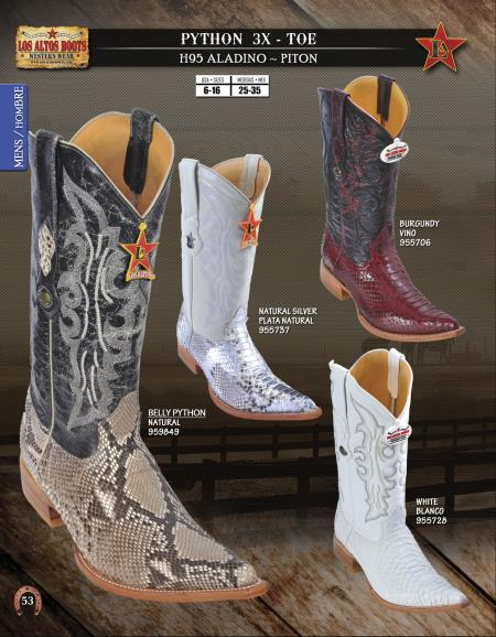 Product#4T5U Authentic Los altos XXX-Toe Genuine Python ~ Snake Western Cowboy Boots Diff. Colors/Sizes