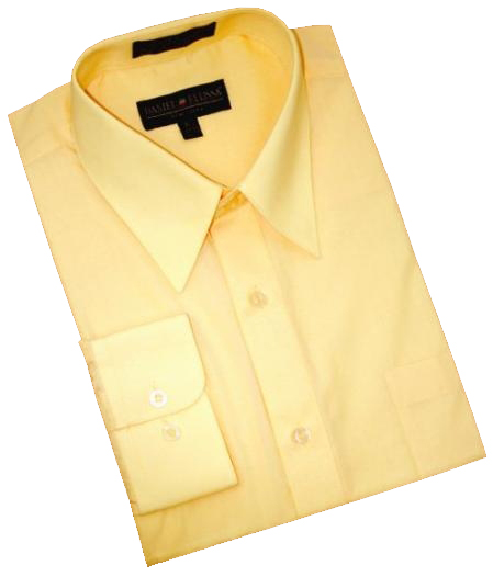 Product# VK877 Solid Canary Yellow Cotton Blend Dress Shirt With Convertible Cuffs