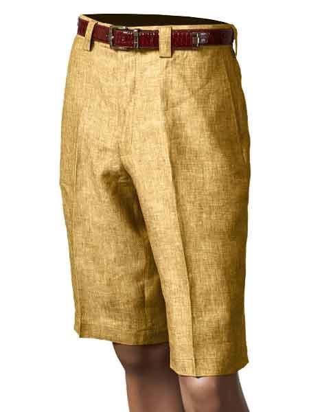 Product# SM869 Inserch Brand Brand/Merc Pleated Slacks 100% Linen Summer Flat Front Shorts