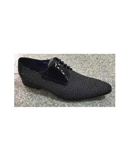 Men's Black/White Zota Leather Trim Pin Dot Pattern Laceup Fashionable Zota Unique Men's Dress Shoes