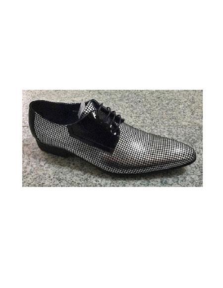 Men's Zota Lace Up Silver Polka Dot Style Pointy Toe Fashion Zota Unique Men's Dress Shoes