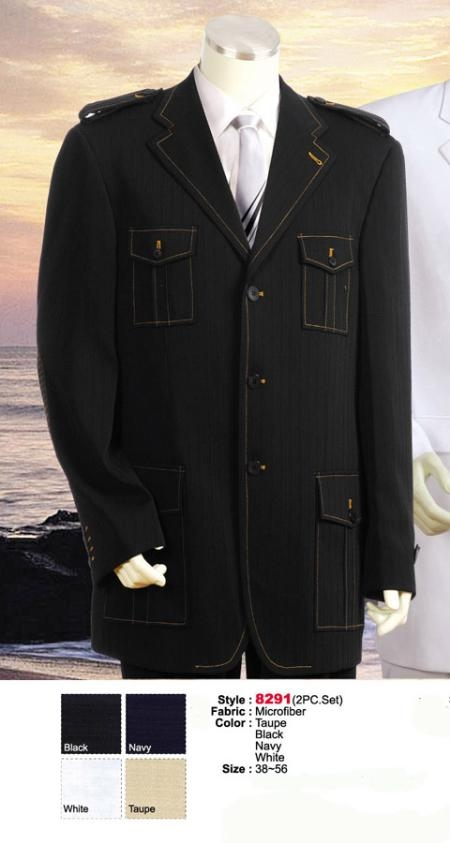 MU7447 Style comes in Liquid Jet Black or Navy or Taupe or White Military Safari Style Suit