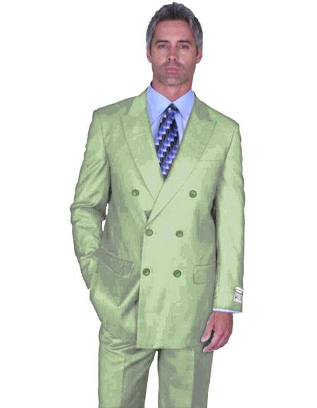 DB-1 Mens Light Green Double Breasted Peak Lapel Suit Side Vented