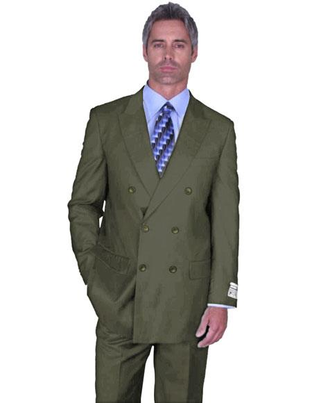 DB-1 Mens Double Breasted Peak Lapel Sage Green Suit Side Vented