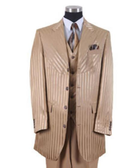 SS-7415 Gold Unique Shiny Fashion Prom Stripe Urban attire Fashion Suit