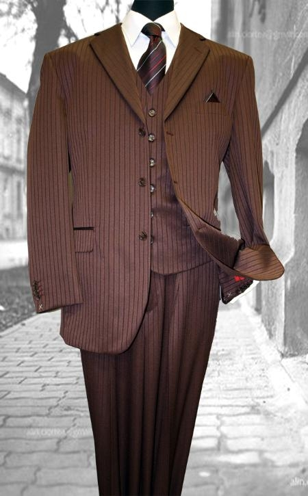 SKU#FN7654 Burgundy Classic 3PC 3 Button Tone On Tone Stripe Mens three piece suit $139