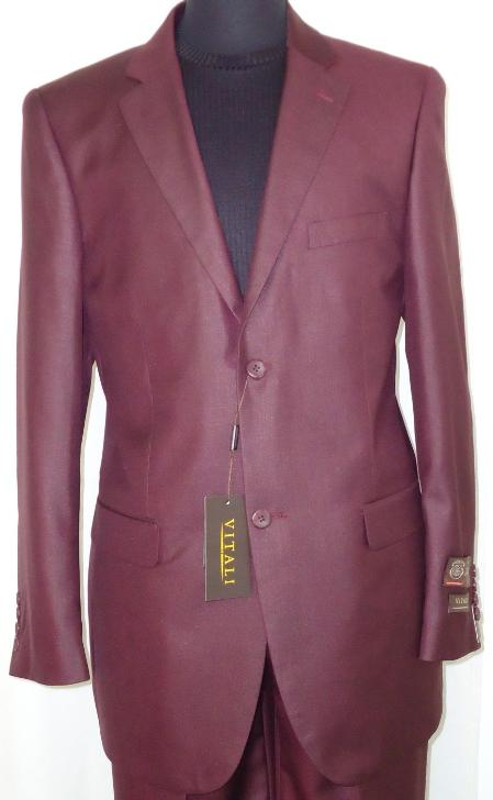 SKU#BGY5235 Mens Designer 2-Button Shiny Burgundy ~ Maroon ~ Wine Color Sharkskin Suit