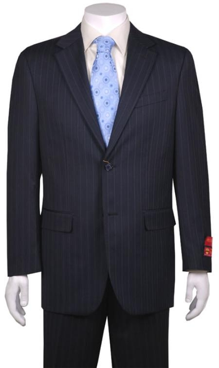 Mens Suit Navy Stripe