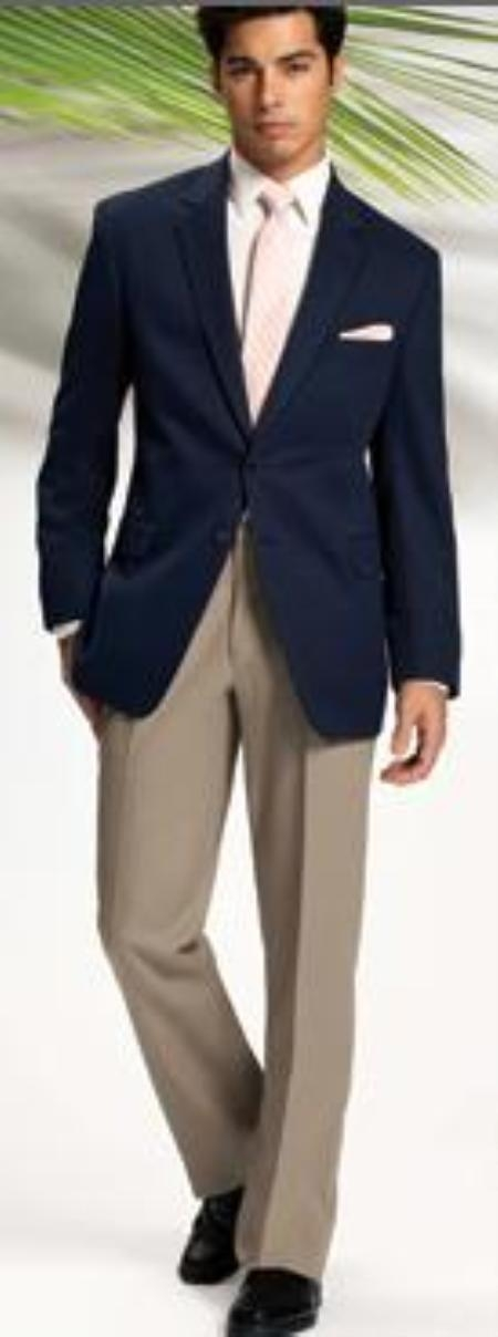 SKU#MASH2 Solid Navy Blue 2 Button Sport Coat Jacket Blazer