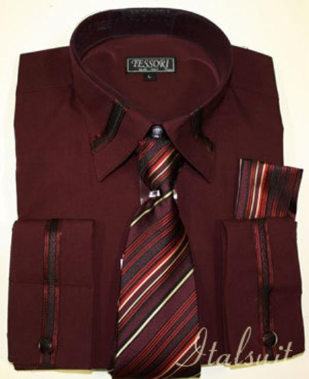 SKU#GV9292 Burgundy Shirt Tie and Hankie Set $65