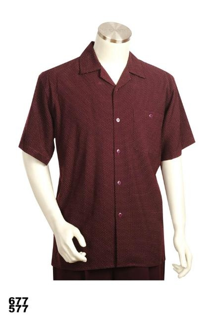SKU#XS1923 Casual Walking Suit Set (Shirt & Pants Included) Burgundy $89