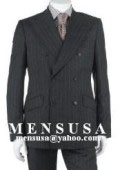 Charcoal Gray Pinstripe Double