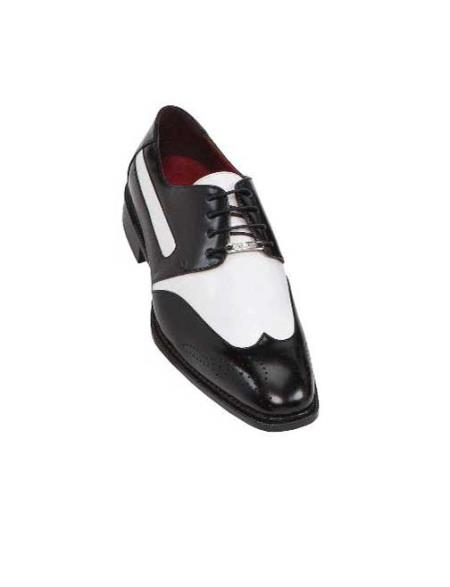 SKU#QEC24 Black Mens Two Tone Dress Shoes Oxford: Wingtip $99