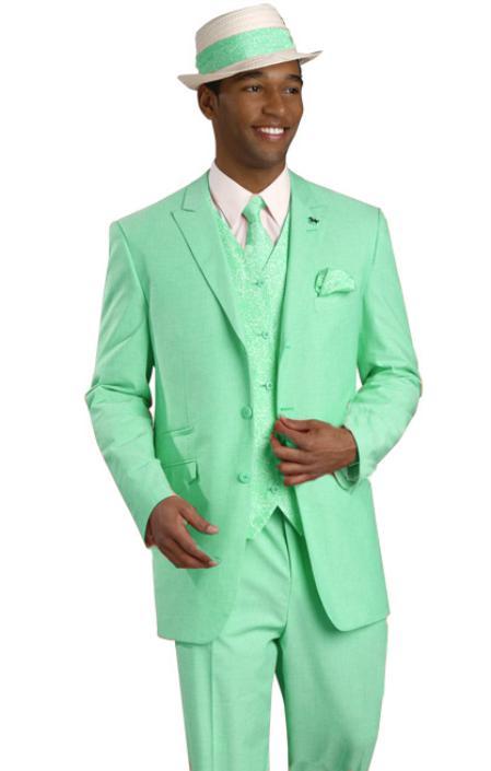 SKU#MNT93 High Quality 2 Button 3PC Mint Color Suit $175