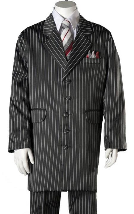 Boys White Pinstripe suit