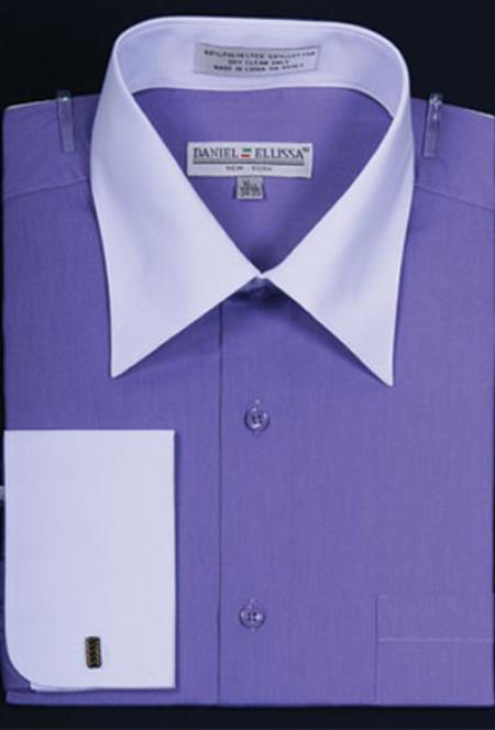 Sku mk658 mens daniel ellissa bright two tone solid french c for Big and tall french cuff dress shirts