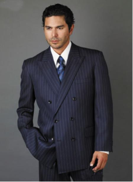 Sku Jz5298 Mens Double Breasted Navy Blue With Smooth Stripe