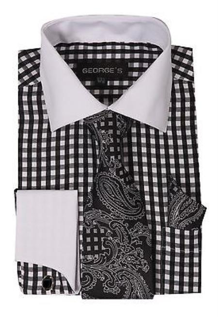 Sku Ab121 Men 39 S Dress Shirt Set Checker Style French Cuff Li