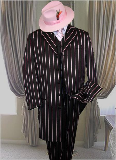 Sku Tlc345 Men S Vested Black Amp White Pinstripe Fashion