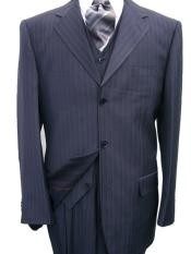 Navy Blue Pinstripe Vested