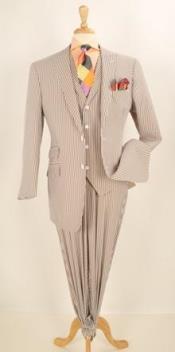 3pc Brown Seersucker Fashion
