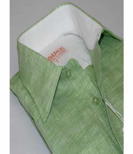 Green Mens Collar Trim