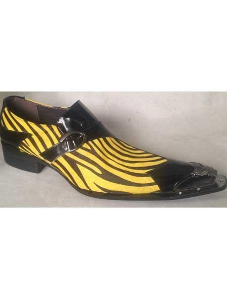 Black/Yellow Shoes Spike Toe