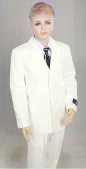 Product# JSM-1584 Boys 2 Piece 3 Button Off White With Notch Lapel Boys And Men Suit Pleated Pants
