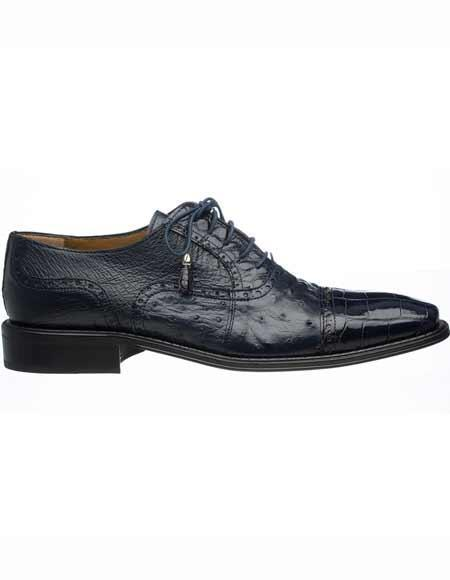 Product# JSM-1632 Men's Ferrini Navy Leather Sole Alligator & Ostrich Quill Cap Toe Tasseled Laces Shoes