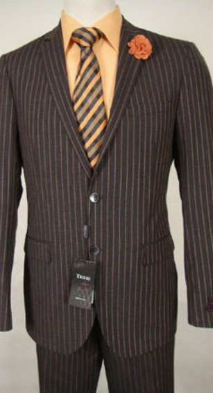 JSM-1831 Tiglio Slim Fit Stripe Wool Dress Brown Suit