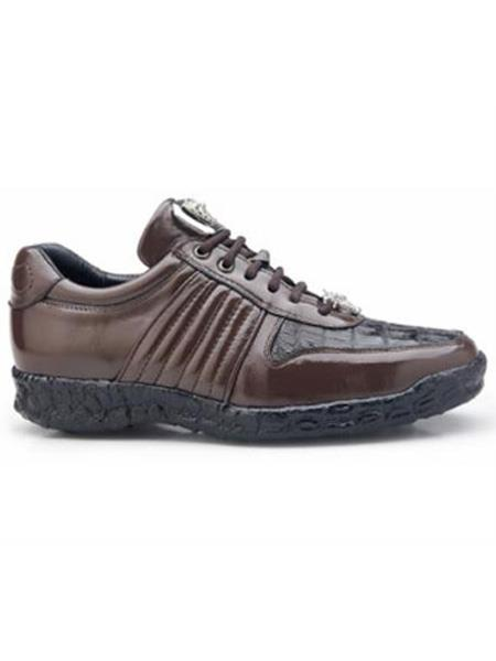 Product# JSM-2014 Men's Authentic Belvedere Exotic Skin Brand Brown Genuine Crocodile and Soft Calf Leather lining Shoe