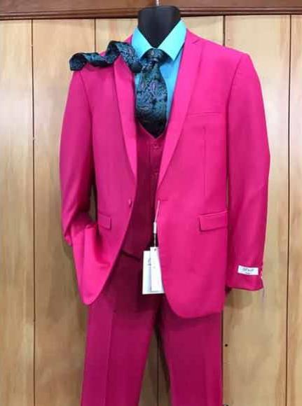 Product# JSM-2530 Men's 2 Buttons Fuchsia Hot Pink Color Suit Vested Slim Fit Suit