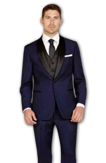 Product# JSM-2810 Men's 1 Button Shawl Lapel Slim Fit Ink Blue Single Breasted Vest Tuxedo Suit