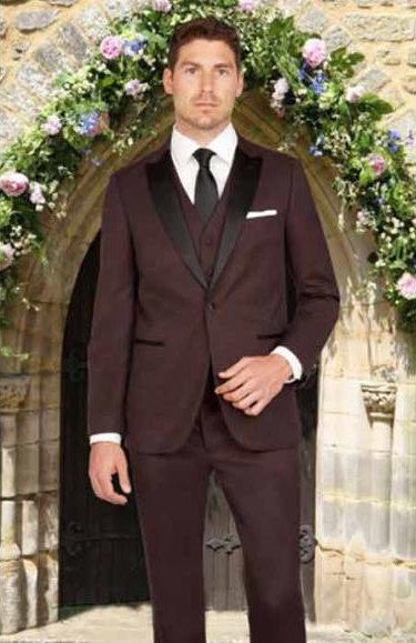 Product# JSM-2819 Men's 1 Button Burgundy Slim Fit Satin Peak Lapel Mini Teakweave Vested 1920s Tuxedo Style
