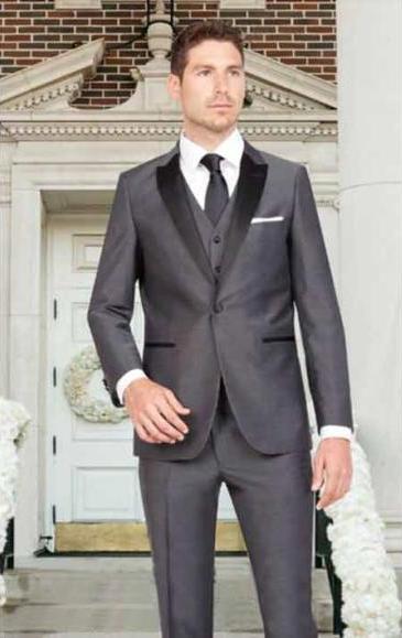Product# JSM-2822 Men's 1 Button Dark Gray Sharkskin Slim Fit Satin Peak Lapel Vested 1920s Tuxedo Style