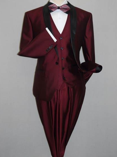 Product# JSM-2853 Shawl Tuxedo Burgundy Slim Fitted 3 Piece Two Toned Shiny Suit Sharkskin