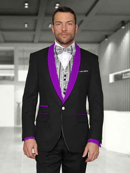 Mens 1 Button Black/Purple
