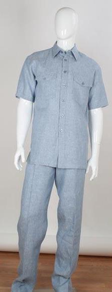 Product# JSM-3041 Men's Stripe Accent Blue Shirt 2 Piece Short Sleeve Double Chest Pockets Men's 2 Piece Linen Causal Outfits Walking Suit / Beach Wedding Attire For Groom