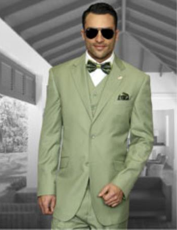 Product# JSM-3208 Light Green < Apple Mintish >Summer Color Business Suit 100% Wool Pleated Pants Regular Cut