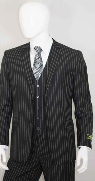 Product# JSM-3336 Men's 2 Buttons Bold Chalk White Stripe With Vest 3 Pieces Jet Liquid Black