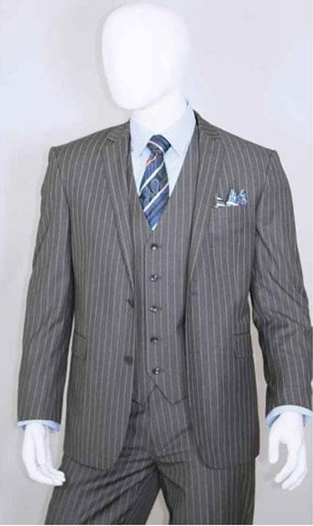 Product# JSM-3338 Men's 2 Buttons Bold Chalk White Stripe With Vest 3 Pieces Medium Grey ~ Gray PinStripe