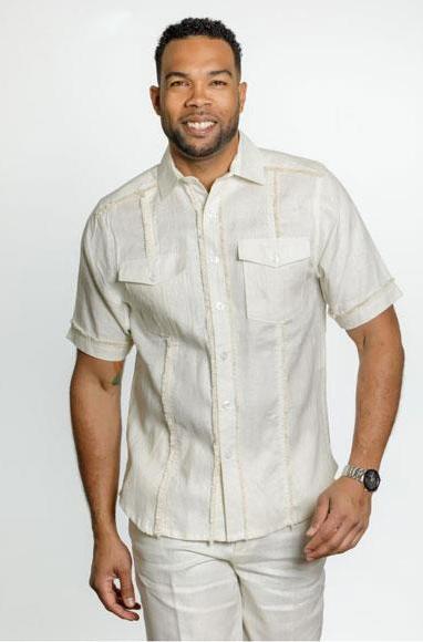 Product jsm 3593 men 39 s fringe edge linen short sleeve fashi for Mens shirt with tassels
