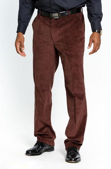 Product# JSM-3613 Men's Stylish Dark Brown Flat Front Corduroy Formal Dressy Pant