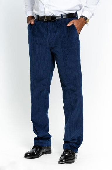 Product# JSM-3615 Men's Stylish Navy Flat Front Corduroy Formal Dressy Pant